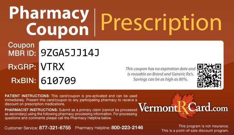 Vermont Rx Card - Free Prescription Drug Coupon Card